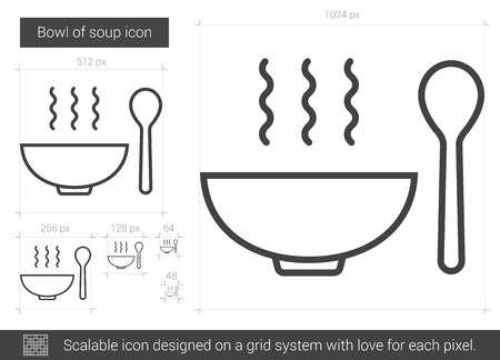Bowl of soup vector line icon isolated on white background. Bowl of soup line icon for infographic, website or app. Scalable icon designed on a grid system.