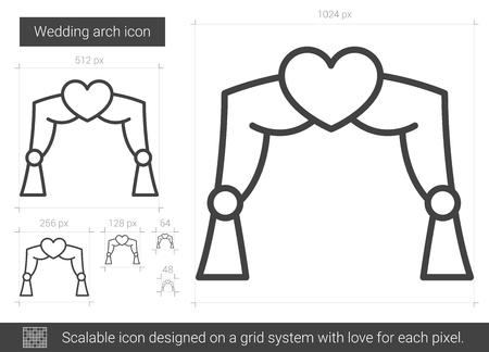 結婚式アーチ ベクトル線のアイコンが白い背景で隔離。グリッド システムで設計されたインフォ グラフィック、web サイトまたはアプリケーション