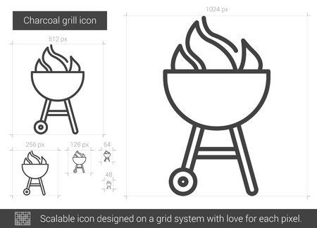 Charcoal grill line icon.