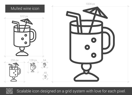 thirsty: Mulled wine line icon.