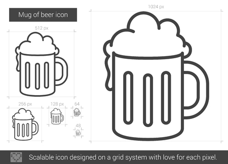 Mug of beer line icon.