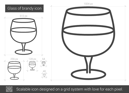 brandy: Glass of brandy line icon. Illustration