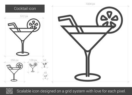 Cocktail lijn pictogram. Stock Illustratie