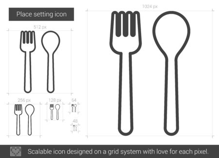 drawn metal: Place setting vector line icon isolated on white background. Place setting line icon for infographic, website or app. Scalable icon designed on a grid system. Illustration