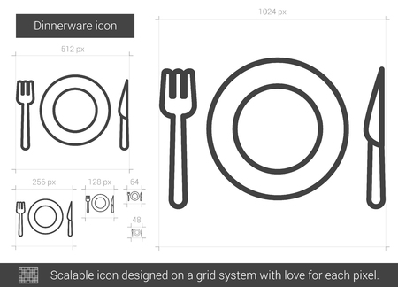meat chopper: Dinnerware vector line icon isolated on white background. Dinnerware line icon for infographic, website or app. Scalable icon designed on a grid system. Illustration