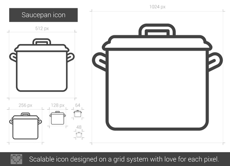 metal grid: Saucepan vector line icon isolated on white background. Saucepan line icon for infographic, website or app. Scalable icon designed on a grid system.