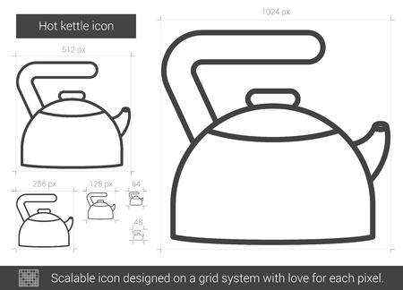 Heet ketel vector lijn pictogram geïsoleerd op een witte achtergrond. Hot ketel lijn pictogram voor infographic, website of app. Schaalbaar pictogram ontworpen op een rastersysteem. Vector Illustratie