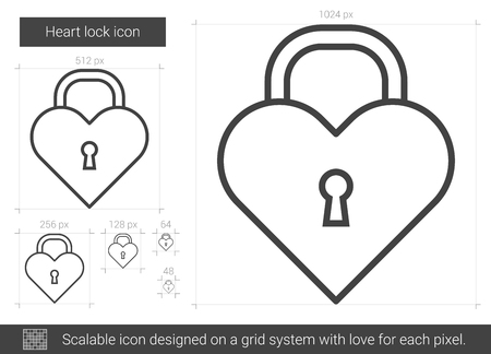 Heart lock vector line icon isolated on white background. Heart lock line icon for infographic, website or app. Scalable icon designed on a grid system.