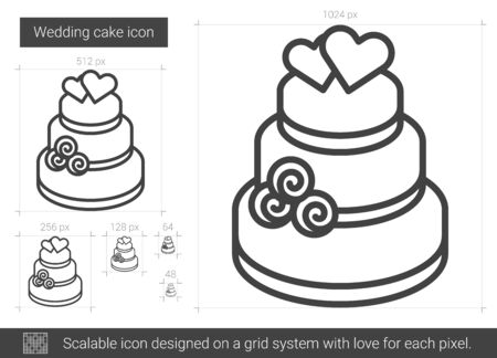 Wedding cake vector line icon isolated on white background. Wedding cake line icon for infographic, website or app. Scalable icon designed on a grid system. Illustration