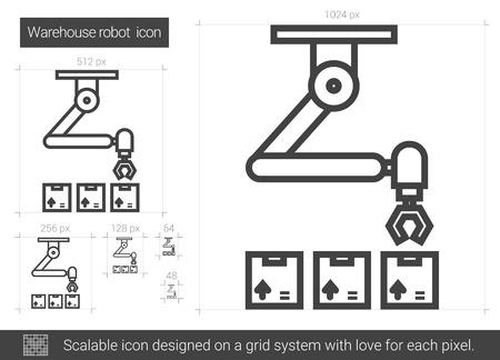 Icône de ligne vecteur robot entrepôt isolé sur fond blanc. Icône de ligne de robot entrepôt pour infographie, site Web ou application. Icône évolutive conçue sur un système de grille.
