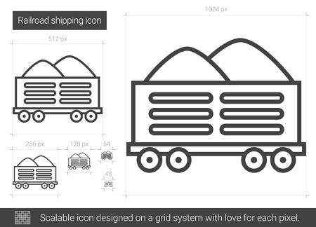 Railroad shipping vector line icon isolated on white background. Railroad shipping line icon for infographic, website or app. Scalable icon designed on a grid system.