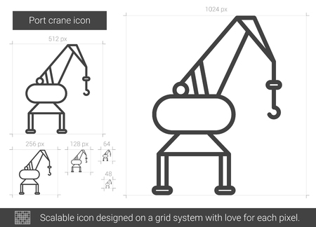 Port crane vector line icon isolated on white background. Port crane line icon for infographic, website or app. Scalable icon designed on a grid system. Ilustração