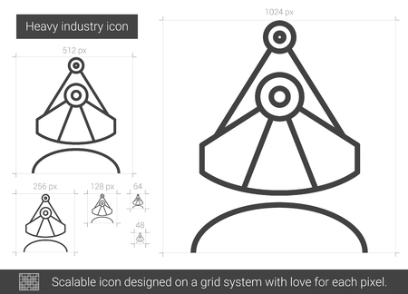 Heavy industry vector line icon isolated on white background. Heavy industry line icon for infographic, website or app. Scalable icon designed on a grid system.