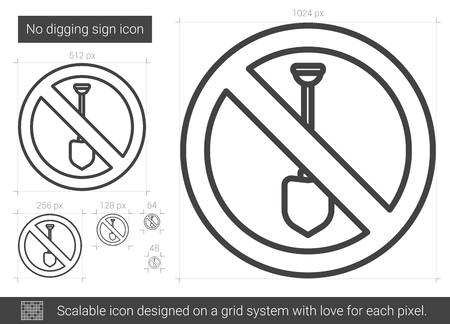 excavate: No digging sign vector line icon isolated on white background. No digging sign line icon for infographic, website or app. Scalable icon designed on a grid system.