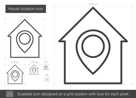 House location vector line icon isolated on white background. House location line icon for infographic, website or app. Scalable icon designed on a grid system.