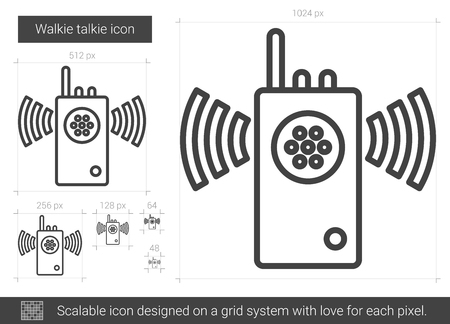 transmit: Walkie talkie vector line icon isolated on white background. Walkie talkie line icon for infographic, website or app. Scalable icon designed on a grid system.
