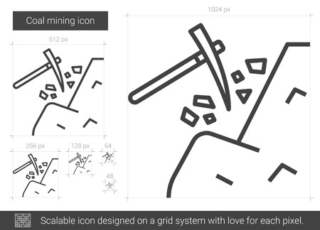 heavy industry: Coal mining vector line icon isolated on white background. Coal mining line icon for infographic, website or app. Scalable icon designed on a grid system.