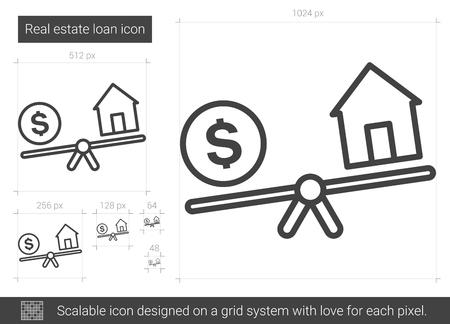 Real estate loan line icon. Stock Illustratie