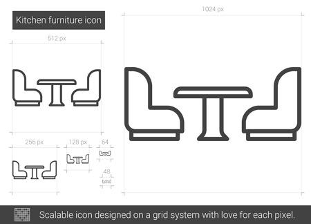 Kitchen furniture line icon. Illustration