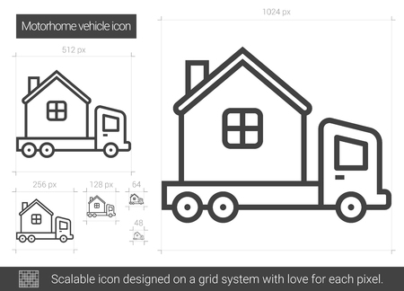 motorhome: Motorhome vehicle line icon.
