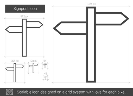multidirectional: Signpost line icon.