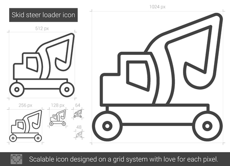 skid loader: Skid steer loader line icon.