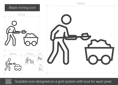 Black mining line icon.