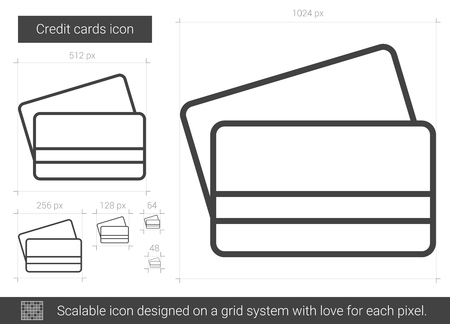 spending: Credit cards line icon. Illustration