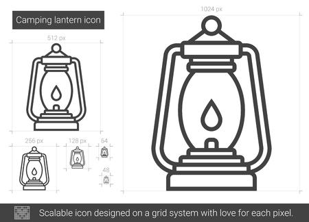 gas lamp: Camping lantern line icon.