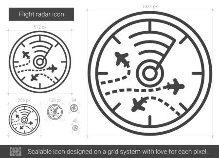 Flight radar line icon.