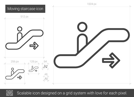 Moving staircase line icon. 向量圖像