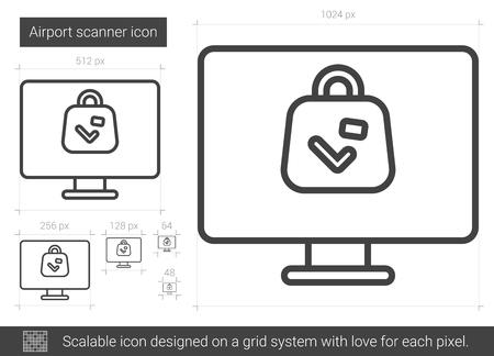 Airport scanner line icon. Stock Illustratie