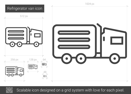 refrigerated: Refrigerator van line icon.