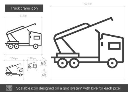 Truck crane line icon. Иллюстрация