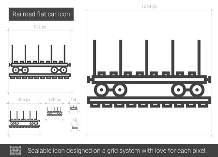 Railroad flat car line icon.