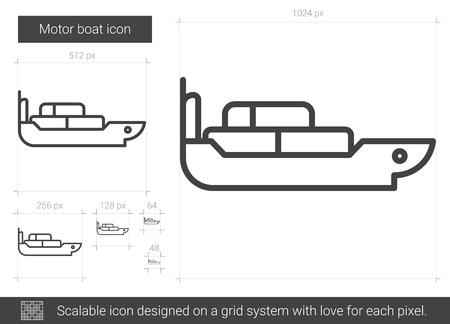 Motor boat line icon.