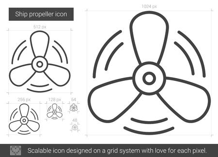 metal grid: Ship propeller line icon. Illustration