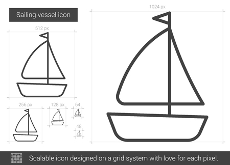 floating: Sailing vessel line icon.