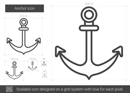 Anchor line icon.