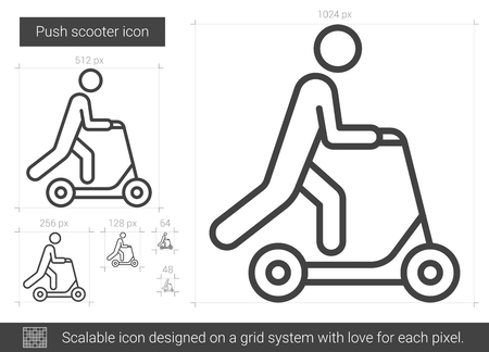 Push scooter line icon.