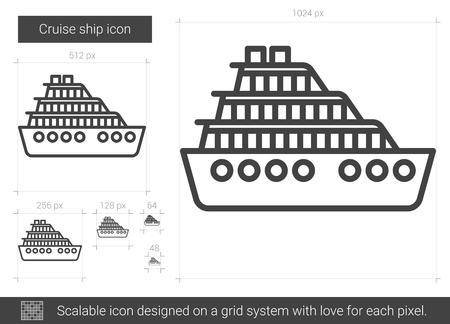 Cruise ship line icon.