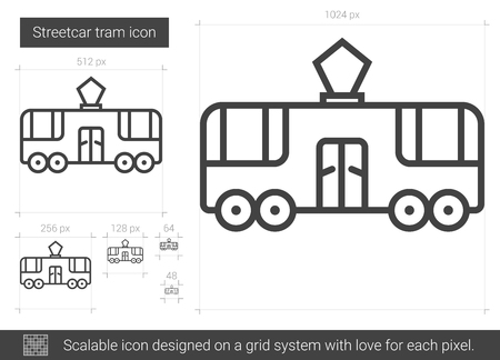 streetcar: Streetcar tram line icon. Illustration