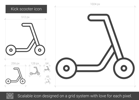 handlebar: Kick scooter line icon.