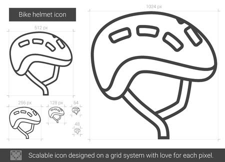 straps: Bike helmet line icon.