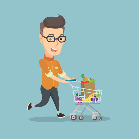 Adult caucasian man pushing a shopping cart with some products in it. Happy man running with a shopping trolley full of purchases. Concept of shopping flat design illustration. Square layout. Illustration