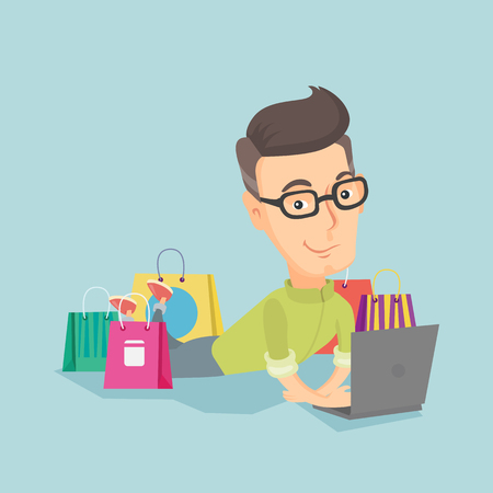 Adult caucasian man using a laptop for online shopping. Smiling man lying with a laptop and shopping bags around him. Happy man doing online shopping flat design illustration. Square layout. Illustration