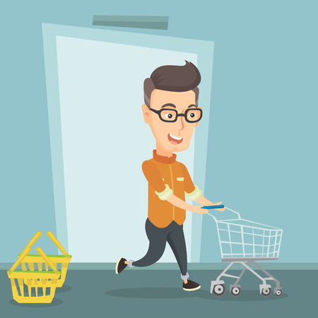 Happy man rushing to shopping. Cheerful customer running into the shop with an empty shopping trolley. Illustration