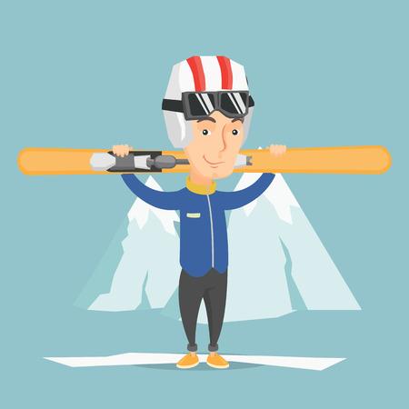 Un sportif caucasien souriant portant des skis à l'arrière de la montagne enneigée. Adulte sportif en ski. Illustration vectorielle design plat Disposition carrée. Banque d'images - 80490985