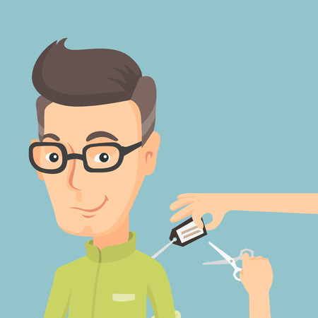 Cheerful man removing a price tag off new shirt. Adult caucasian man cutting a label off new clothes with scissors. Man shopping at a clothes store. Vector flat design illustration. Square layout. Illustration