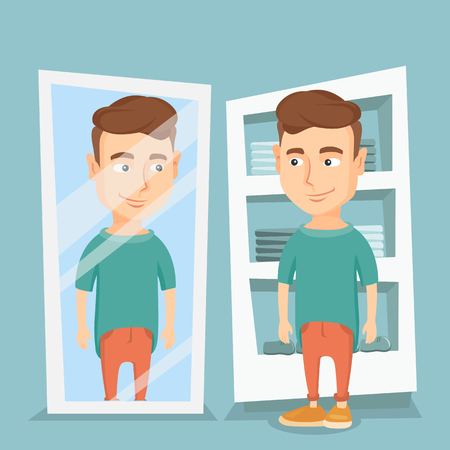 Young man looking at himself in the mirror in the dressing room. Man trying on t-shirt in the dressing room. Man choosing clothes in the dressing room. Vector flat design illustration. Square layout.
